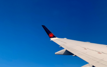picture of an AirCanada airplane wing
